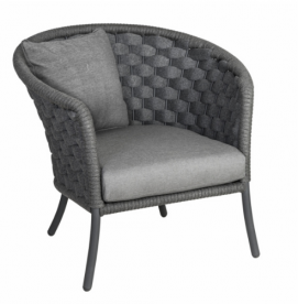 Кресло их техноротанга Alexander Rose TEA- CORDIAL GREY WIDE LOUNGE ARMCHAIR W. CUSHION