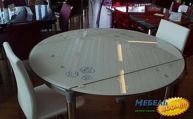 Круглый стеклянный стол на кухню раздвижной